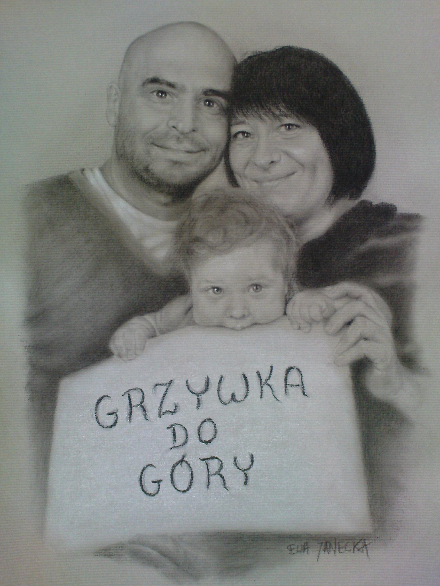 Portret ołówkiem - rodzina
