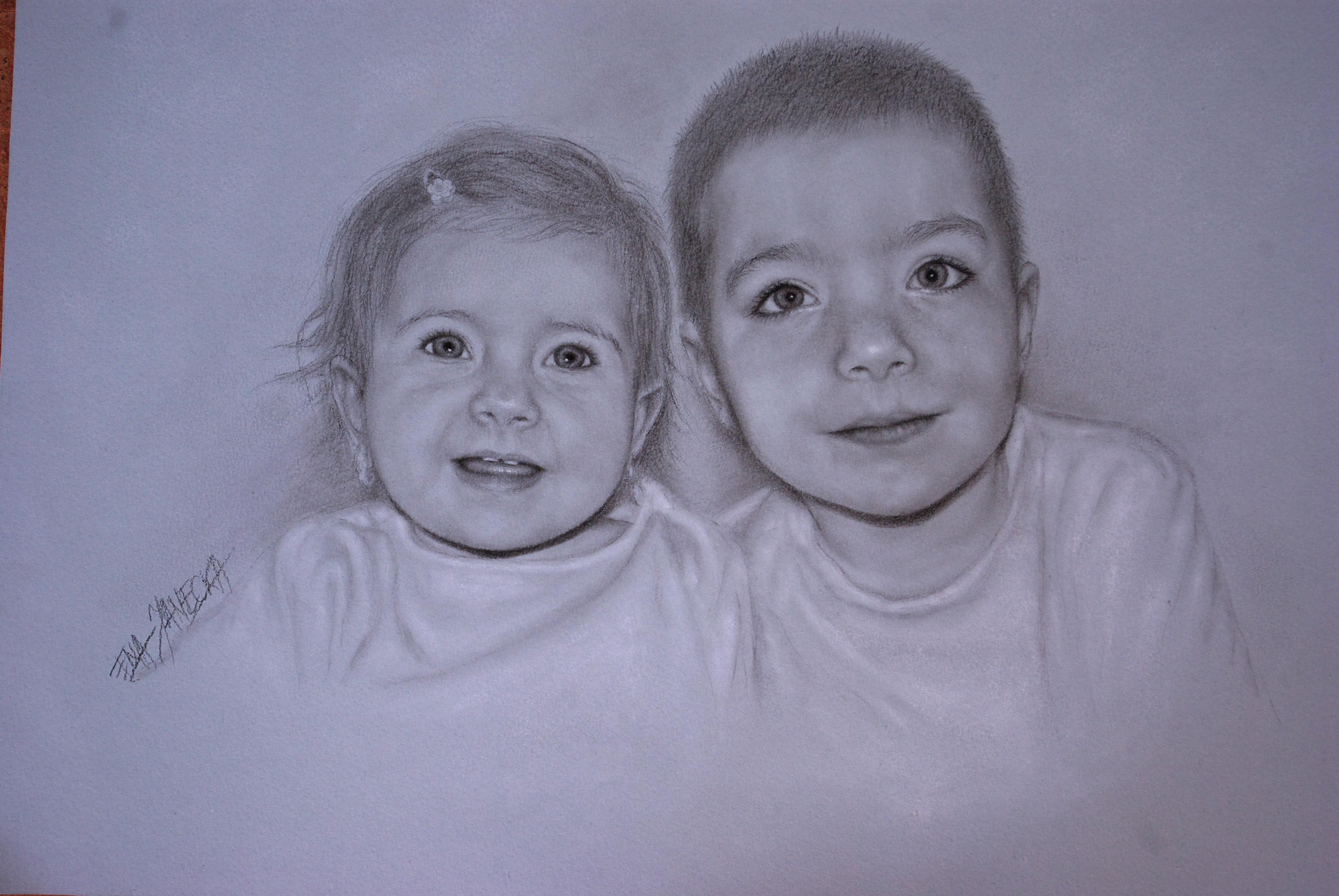 Portet ołówkiem - dzieci