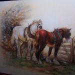 portret zwierząt - konie, kredki akwarelowe